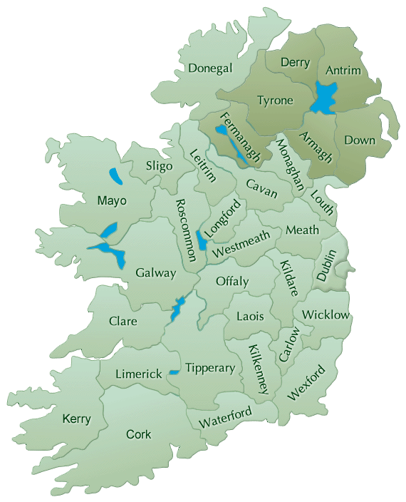 Map of Irish BBs by County Ireland Bed and Breakfast